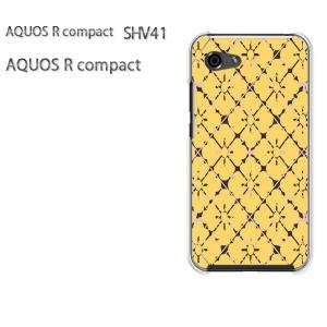 ゆうパケ送料無料 スマホケース ハード AQUOS R compact SHV41 アクオス クリア 和柄(黄)/shv41-pc-new1239]