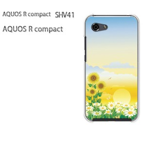 ゆうパケ送料無料 スマホケース ハード AQUOS R compact SHV41 アクオス クリア 【フラワー179/shv41-PM179】