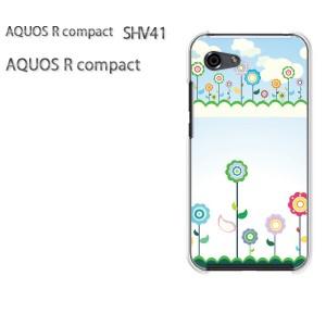 ゆうパケ送料無料 スマホケース ハード AQUOS R compact SHV41 アクオス クリア 【フラワー276/shv41-PM276】