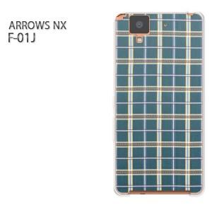 ゆうパケ送料無料スマホケース ハード ARROWS NX F-01Jクリア チェック(ブルー)/f01j-pc-new0296]