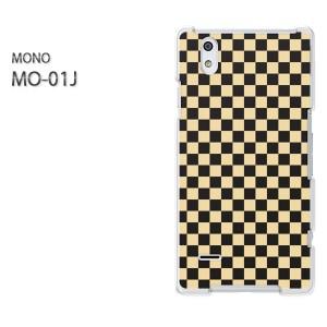 ゆうパケ送料無料スマホケース ハード MONO MO-01Jクリア  チェック(黄)/mo01j-pc-ne319]