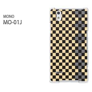 ゆうパケ送料無料スマホケース ハード MONO MO-01Jクリア  チェック(黄)/mo01j-pc-ne320]