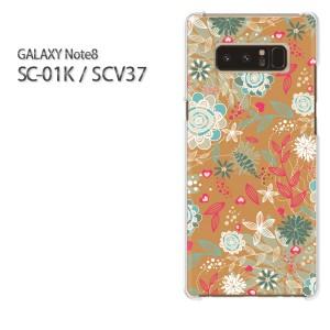 Galaxy Note8 ケース SC-01K SCV37 ゆうパケ送料無料 クリア 花・レトロ(ブラウン)/sc01k-pc-new1671]