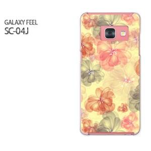 Galaxy Feel SC-04J ケース ハード スマホ ゆうパケ送料無料 クリア 花(黄)/sc04j-pc-new1621]