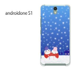 ゆうパケ送料無料スマホケース ハード android One S1 クリア 【雪だるま(B)/androidones1-M714】