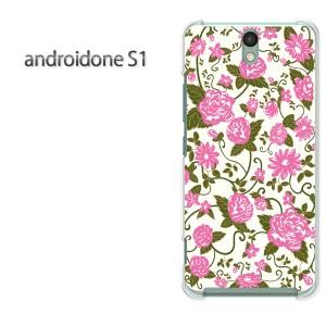 ゆうパケ送料無料スマホケース ハード android One S1 クリア 【花 ピンク/androidones1-M722】
