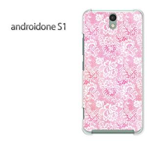 ゆうパケ送料無料スマホケース ハード android One S1 クリア 【レース柄 ピンク/androidones1-M728】