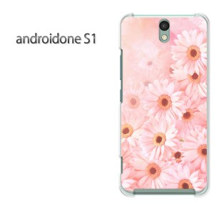 ゆうパケ送料無料スマホケース ハード android One S1 クリア  [花(ピンク)/androidones1-pc-ne059]