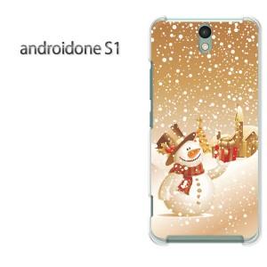ゆうパケ送料無料スマホケース ハード android One S1 クリア  冬・シンプル・雪だるま(ブラウン)/androidones1-pc-ne100]