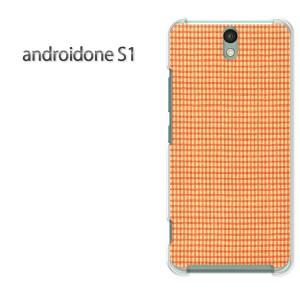 ゆうパケ送料無料スマホケース ハード android One S1 クリア [チェック(オレンジ)/androidones1-pc-new0287]