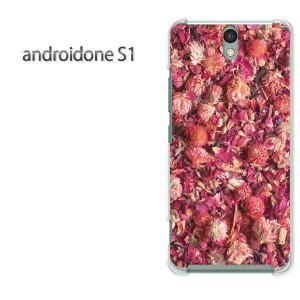 ゆうパケ送料無料スマホケース ハード android One S1 クリア 花(赤)/androidones1-pc-new0379]