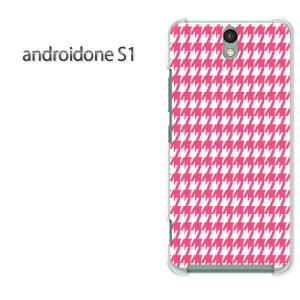 ゆうパケ送料無料スマホケース ハード android One S1 クリア [チェック・千鳥格子(ピンク)/androidones1-pc-new0856]