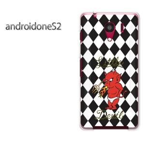 ゆうパケ送料無料スマホケース ハード android One S2 クリア  チェック・悪魔(黒)/androidones2-pc-ne391]