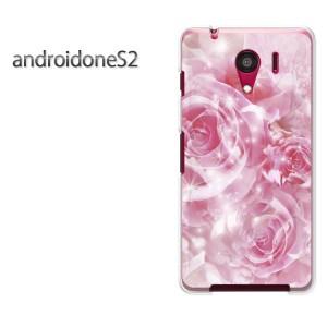 ゆうパケ送料無料スマホケース ハード android One S2 クリア 花・バラ(ピンク)/androidones2-pc-new0450]