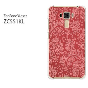 ゆうパケ送料無料スマホケース ハード ZenFone3Laser ZC551KL クリア シンプル(赤)/zc551kl-pc-new0161]