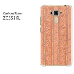 ゆうパケ送料無料スマホケース ハード ZenFone3Laser ZC551KL クリア [花・ボーダー(赤)/zc551kl-pc-new0320]