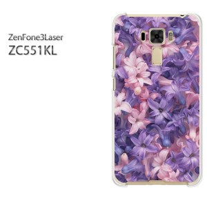 DM便送料無料スマホケース ハード ZenFone3Laser ZC551KL クリア [花(紫)/zc551kl-pc-new0357]