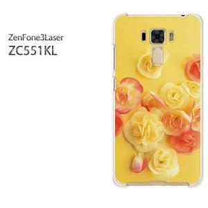 ゆうパケ送料無料スマホケース ハード ZenFone3Laser ZC551KL クリア [花・バラ(黄)/zc551kl-pc-new0358]