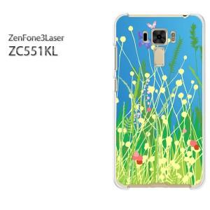 ゆうパケ送料無料スマホケース ハード ZenFone3Laser ZC551KL クリア 花(グリーン)/zc551kl-pc-new0625]