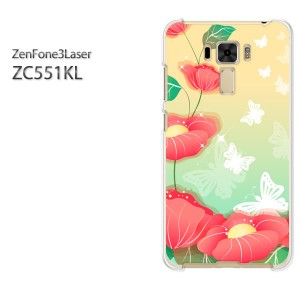 ゆうパケ送料無料スマホケース ハード ZenFone3Laser ZC551KL クリア [花(赤)/zc551kl-pc-new0751]