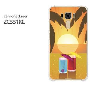 DM便送料無料スマホケース ハード ZenFone3Laser ZC551KL クリア [夏・シンプル・夕日・カクテル(オレンジ)/zc551kl-pc-new0764]