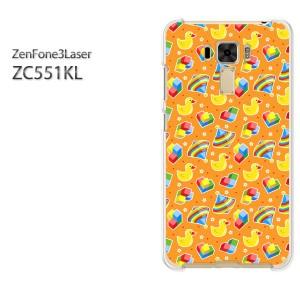 ゆうパケ送料無料スマホケース ハード ZenFone3Laser ZC551KL クリア 動物・アヒル(オレンジ)/zc551kl-pc-new0957]