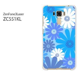 ゆうパケ送料無料スマホケース ハード ZenFone3Laser ZC551KL クリア 花・シンプル(ブルー)/zc551kl-pc-new1743]