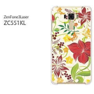 DM便送料無料スマホケース ハード ZenFone3Laser ZC551KL クリア 【フラワー264/zc551kl-PM264】