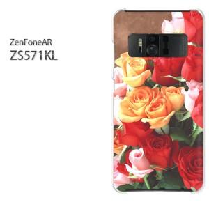 ゆうパケ送料無料スマホケース ハード ZenFoneAR ZS571KL クリア 【バラ(A)/zs571kl-M901】