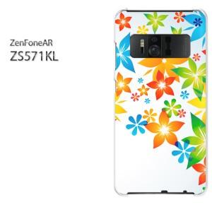 DM便送料無料スマホケース ハード ZenFoneAR ZS571KL クリア [花・カラフル(白)/zs571kl-pc-new1433]