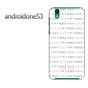 ゆうパケ送料無料スマホケース ハード android One S3 クリア  [メガネ・シンプル・ドット(白)/androidones3-pc-ne262]