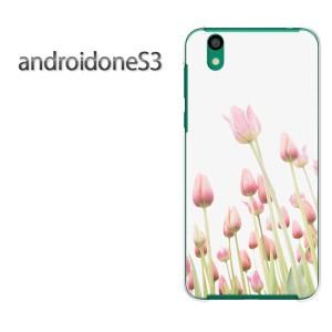 ゆうパケ送料無料スマホケース ハード android One S3 クリア [花・チューリップ(ピンク)/androidones3-pc-new1551]