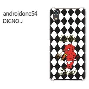 ゆうパケ送料無料スマホケース ハード android One S4 クリア  [チェック・悪魔(黒)/androidones4-pc-ne391]
