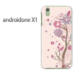 ゆうパケ送料無料スマホケース ハード android One X1 クリア  花・ハート(ピンク)/androidonex1-pc-ne329]