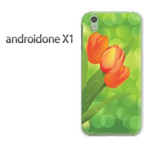DM便送料無料スマホケース ハード android One X1 クリア [花・チューリップ(赤)/androidonex1-pc-new0649]