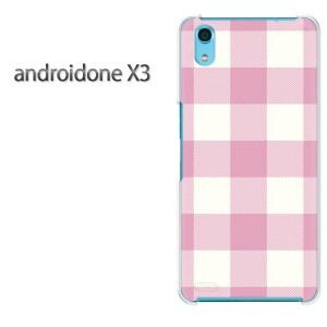 ゆうパケ送料無料スマホケース ハード android One X3 クリア 【チェック2(薄ピンク)/androidonex3-M856】