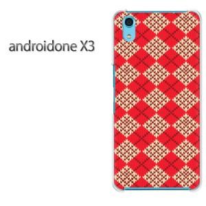 ゆうパケ送料無料スマホケース ハード android One X3 クリア [チェック・アーガイル(赤)/androidonex3-pc-new0898]