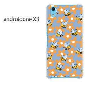 ゆうパケ送料無料スマホケース ハード android One X3 クリア [花・蜂(ブルー)/androidonex3-pc-new0941]