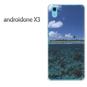 ゆうパケ送料無料スマホケース ハード android One X3 クリア [夏・海・空(ブルー)/androidonex3-pc-new1032]