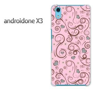 ゆうパケ送料無料スマホケース ハード android One X3 クリア [花・レトロ(ピンク)/androidonex3-pc-new1698]