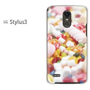 ゆうパケ送料無料スマホケース ハード LG Stylus3 クリア  スイーツ・マシュマロ(白)/stylus3-pc-ne045]