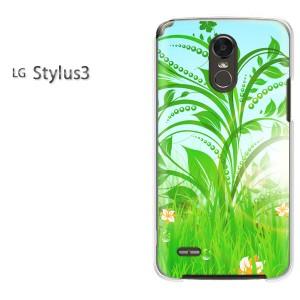 ゆうパケ送料無料スマホケース ハード LG Stylus3 クリア  花(グリーン)/stylus3-pc-ne088]