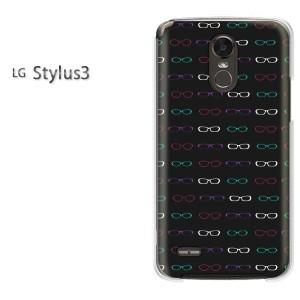 ゆうパケ送料無料スマホケース ハード LG Stylus3 クリア  メガネ・シンプル・ドット(黒)/stylus3-pc-ne260]