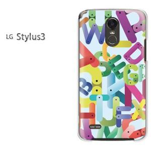 ゆうパケ送料無料スマホケース ハード LG Stylus3 クリア  テキスタイル・シンプル(ブルー)/stylus3-pc-ne322]
