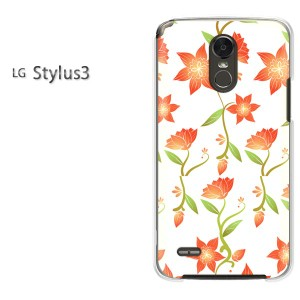 ゆうパケ送料無料スマホケース ハード LG Stylus3 クリア 花(オレンジ)/stylus3-pc-new0043]