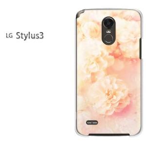 DM便送料無料スマホケース ハード LG Stylus3 クリア [花・カーネーション(赤・ピンク)/stylus3-pc-new0443]