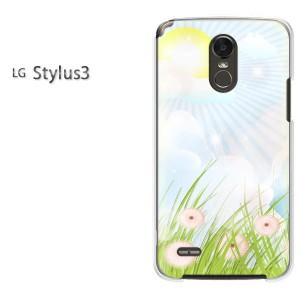 ゆうパケ送料無料スマホケース ハード LG Stylus3 クリア 花(ブルー)/stylus3-pc-new0645]