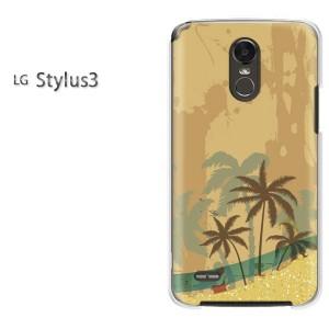ゆうパケ送料無料スマホケース ハード LG Stylus3 クリア 夏・シンプル・海・ヤシの木(ベージュ)/stylus3-pc-new0791]