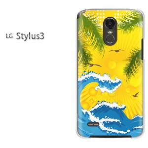 ゆうパケ送料無料スマホケース ハード LG Stylus3 クリア 夏・シンプル・海(ブルー・黄)/stylus3-pc-new0792]