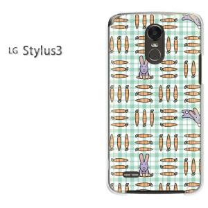 ゆうパケ送料無料スマホケース ハード LG Stylus3 クリア 動物・ウサギ・チェック(グリーン)/stylus3-pc-new0970]